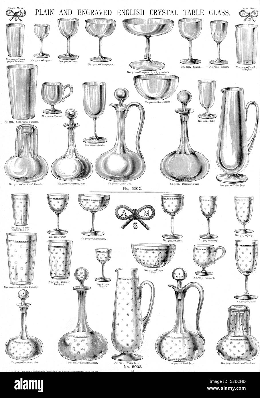 Plain and Engraved English Crystal Table Glass, Plate 94, showing jugs, decanters, glasses and other items.     - Stock Image