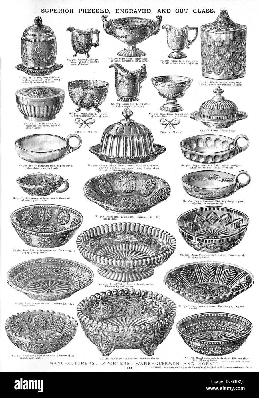 Superior Pressed, Engraved and Cut Glass, Plate 141, showing a range of jugs, basins, dishes, plates and containers - Stock Image