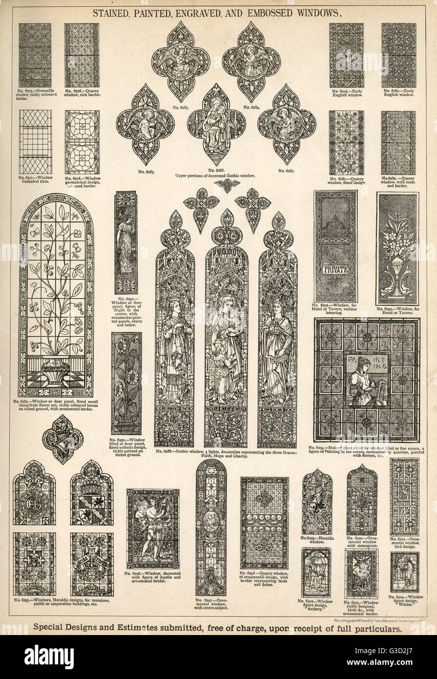 Stained, Painted, Engraved and Embossed Windows, Plate 164, showing a range of windows for churches, homes and other - Stock Image