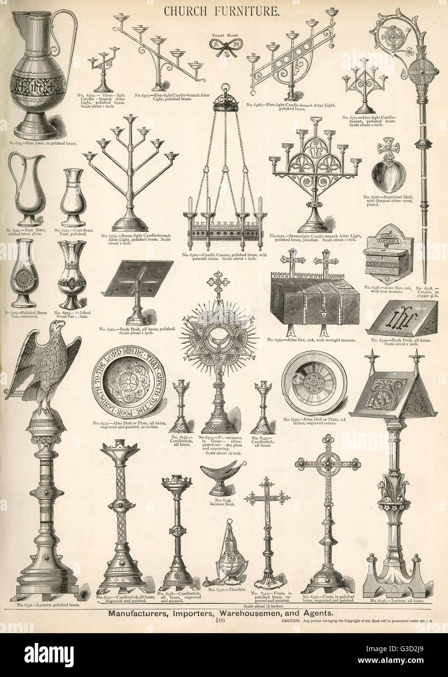 Church Furniture, Plate 166, showing candle holders, candlesticks, lecterns, boxes, vases and other items.      - Stock Image