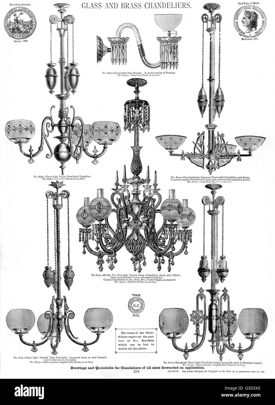 Glass and brass chandeliers, Plate 258.      Date: circa 1880s - Stock Image