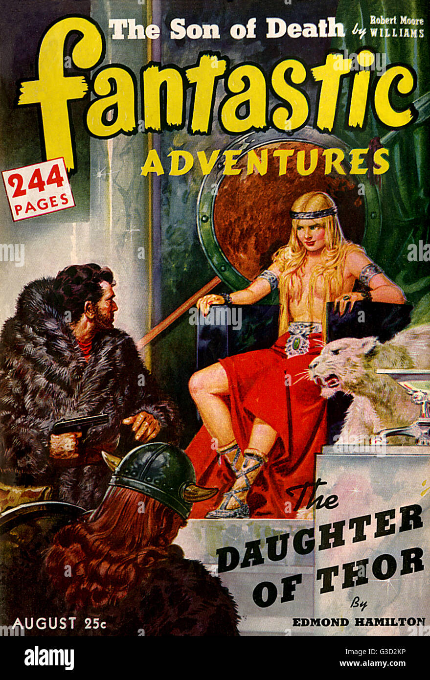 Cover of Fantastic Adventures, August 1942, featuring the story 'The Daughter of Thor' by Edmond Hamilton. - Stock Image