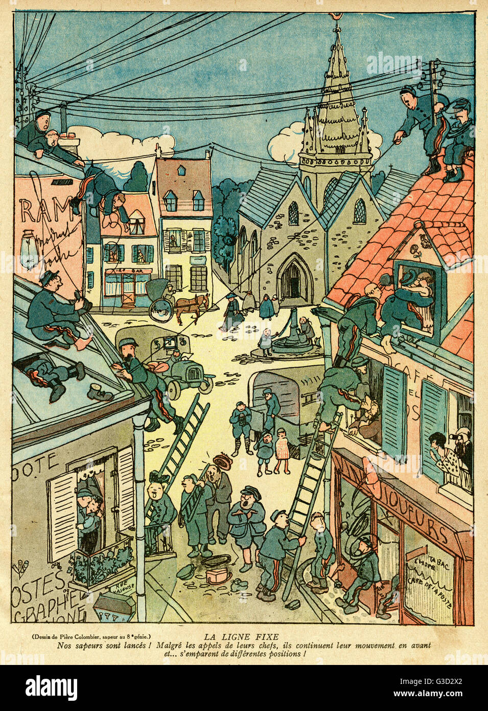 Cartoon, The Fixed Line.  Military engineers (sappers) busy setting up lines of communication in a town on the Western - Stock Image