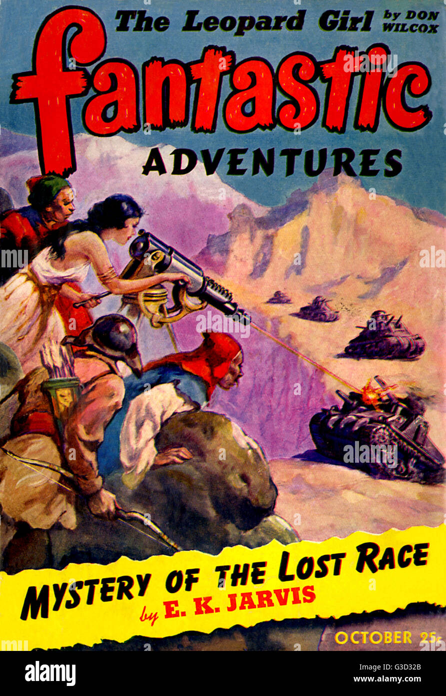Cover of Fantastic Adventures, October 1942, featuring the story 'Mystery of the lost race' by E. K. Jarvis. - Stock Image
