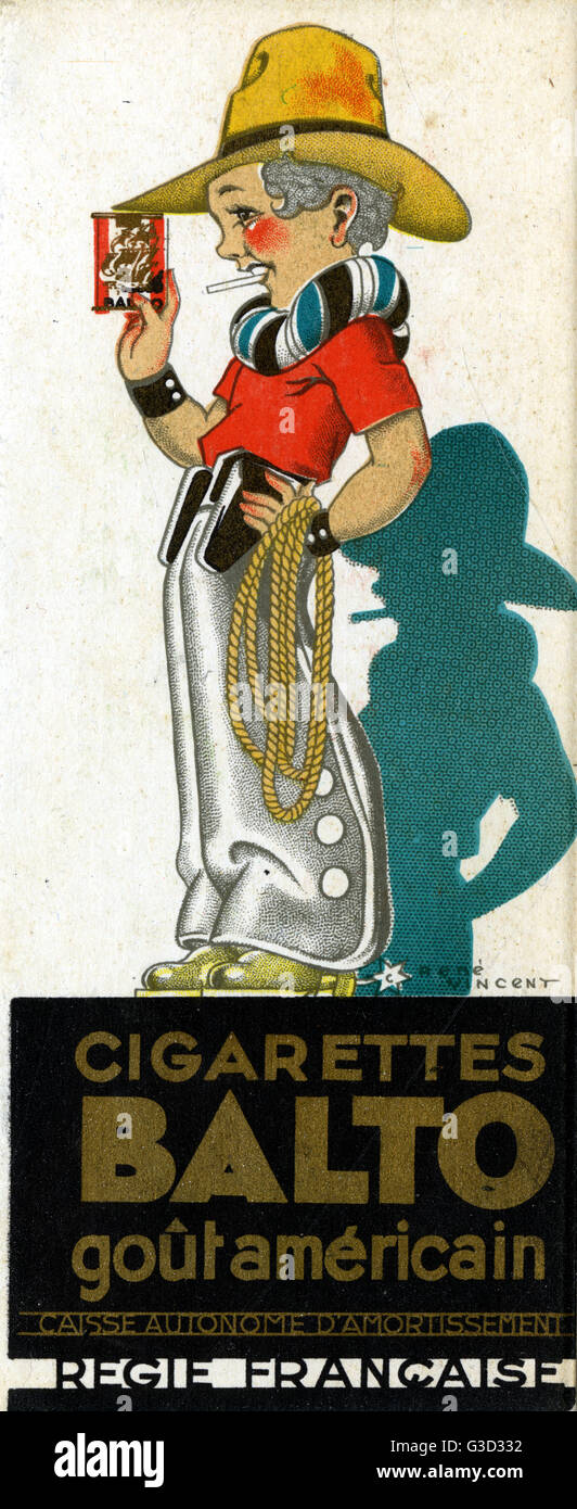A young American cowboy with his packet of Balto 'American Taste' Cigarettes.     Date: 1934 - Stock Image