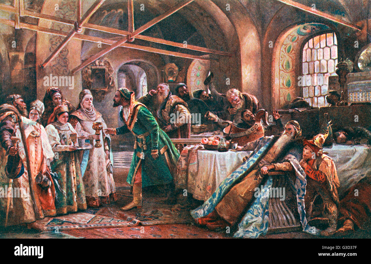 'The Kissing Ceremony' by Russian painter Konstantin Yegorovich Makovsky (1839-1915).     Date: late 19th - Stock Image