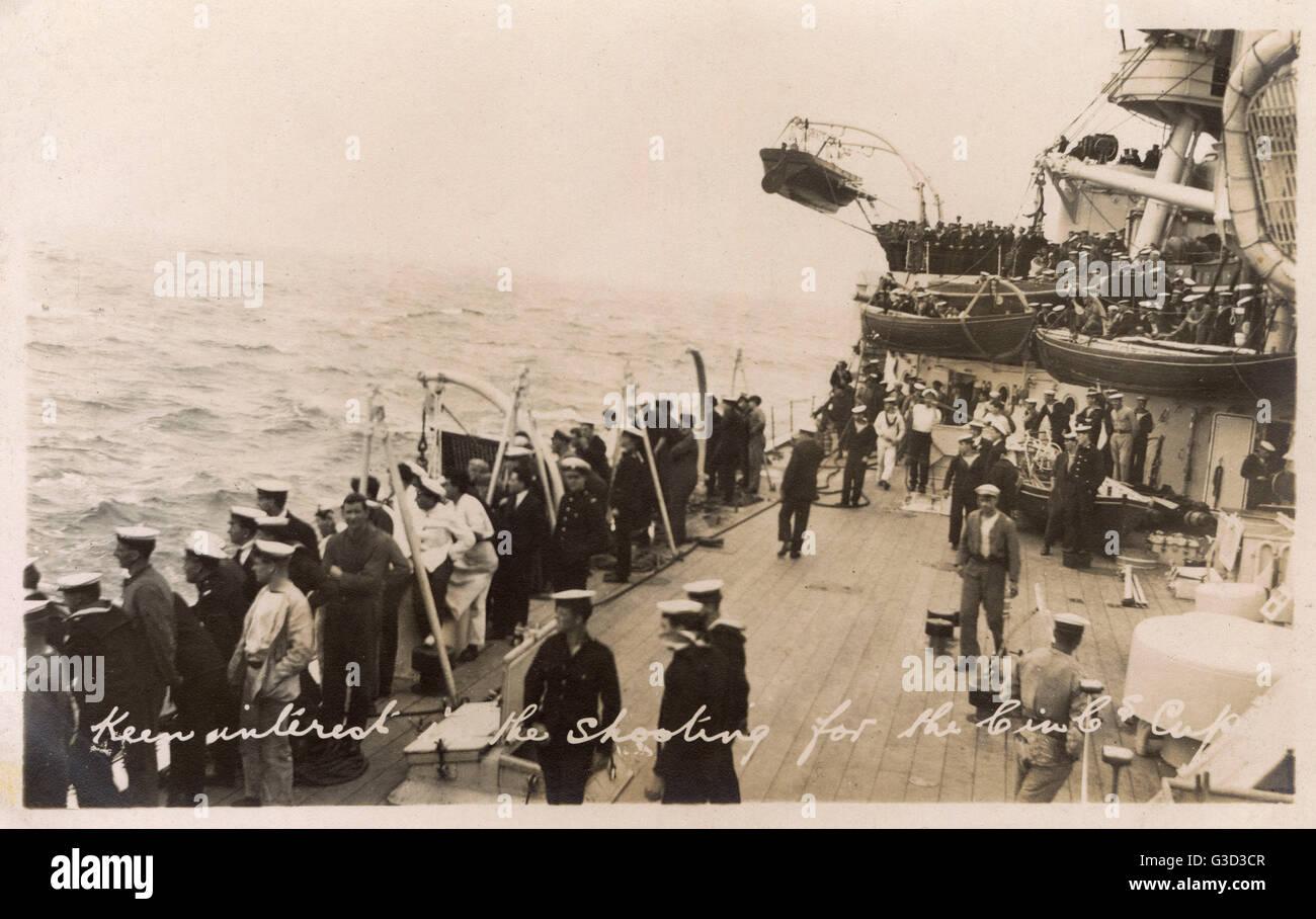 HMS Marlborough, Iron Duke-class battleship - Competition - keen interest amonst the sailors on deck during the - Stock Image