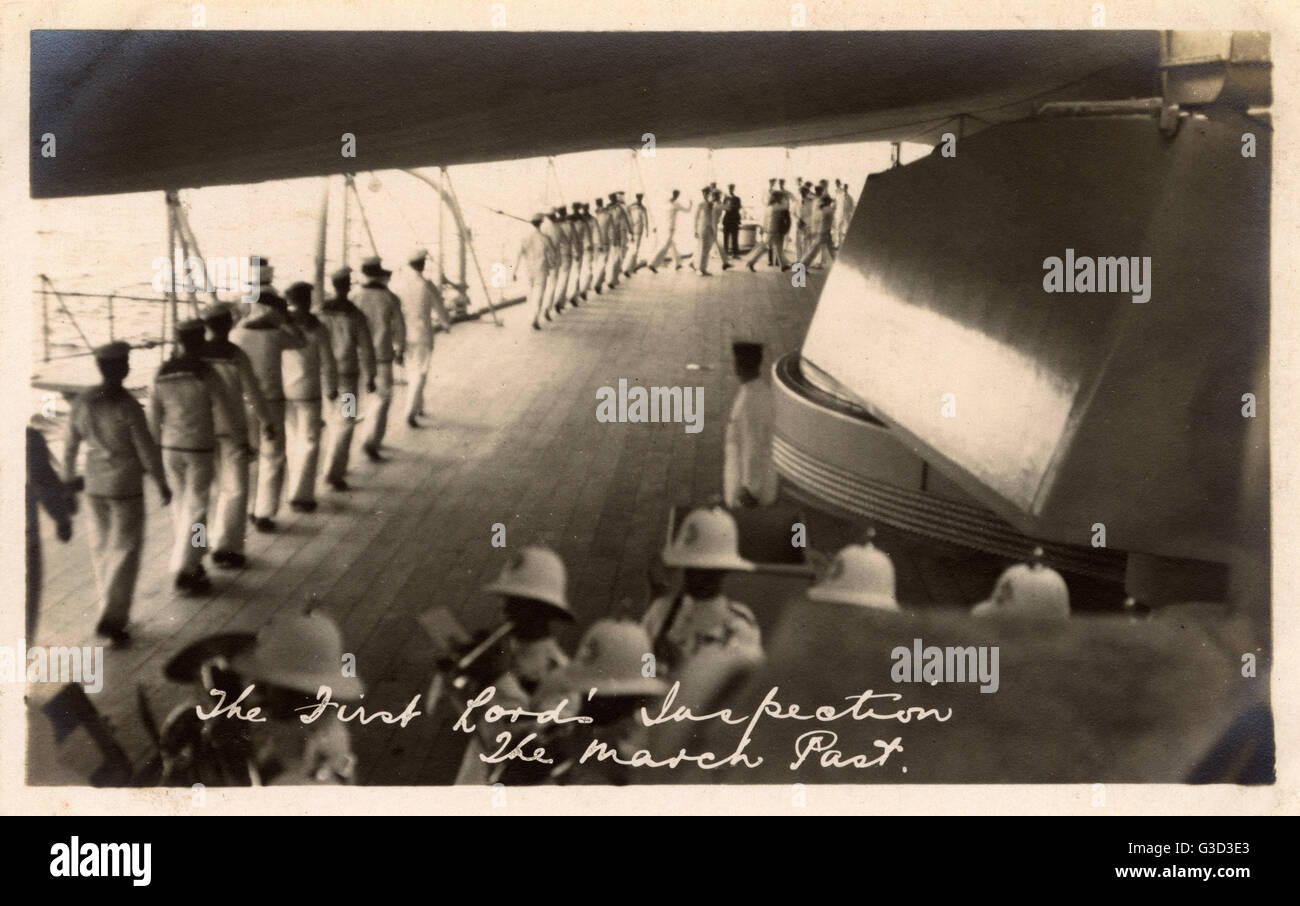 HMS Marlborough - Inspection by First Lord of the Admiralty. The March Past. HMS Marlborough was an Iron Duke-class - Stock Image