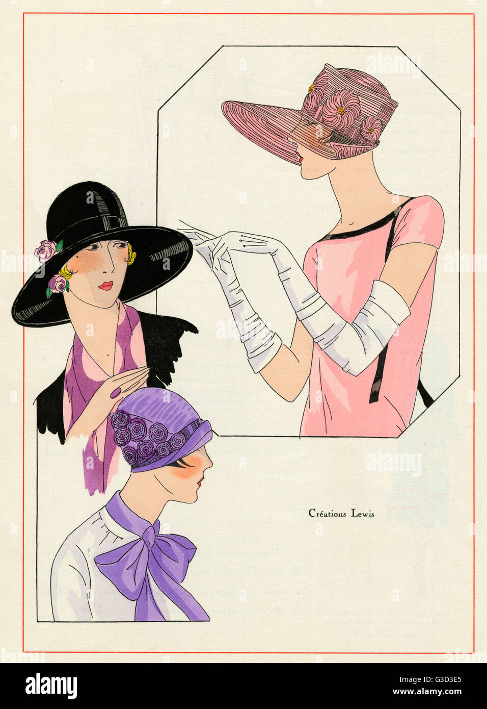 Creations by Lewis, three styes of hats for summer 1926.     Date: 1926 - Stock Image