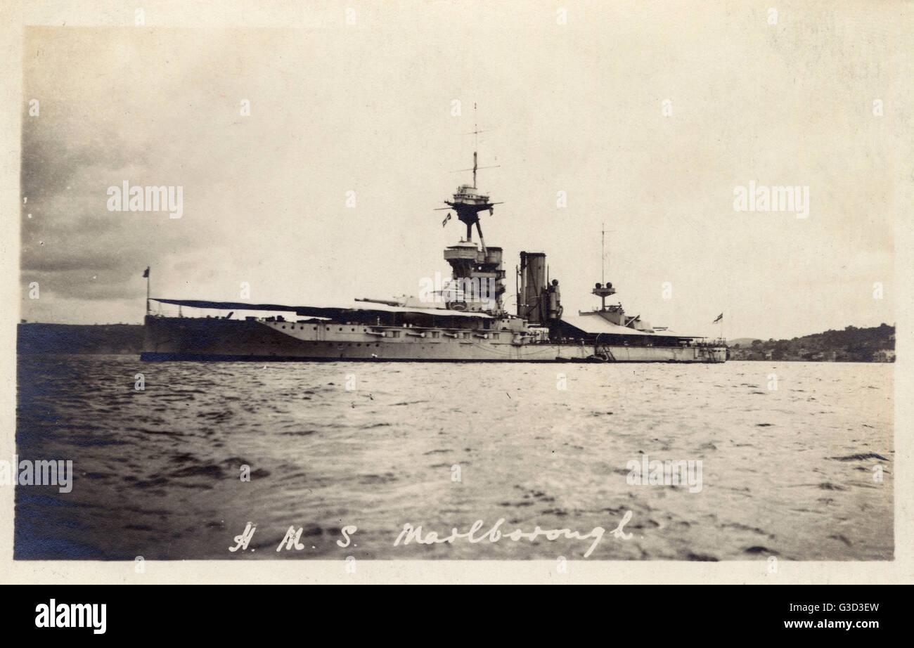 HMS Marlborough was an Iron Duke-class battleship of the British Royal Navy, named in honour of John Churchill, - Stock Image