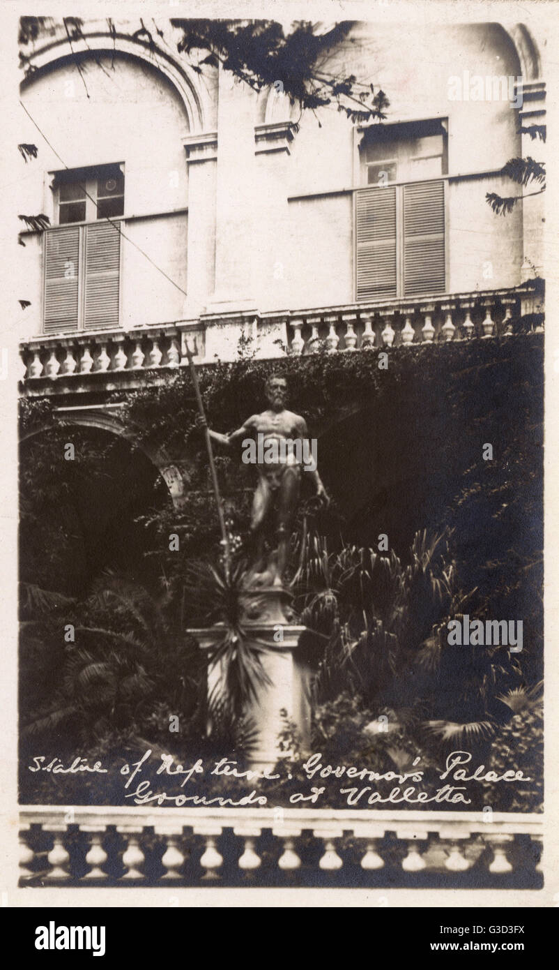 Valletta, Malta - Statue of Neptune - Governor's Palace Grounds.     Date: 1923 - Stock Image