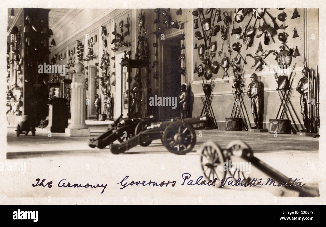 Valletta, Malta - The Armoury - Governor's Palace.     Date: 1923 - Stock Image