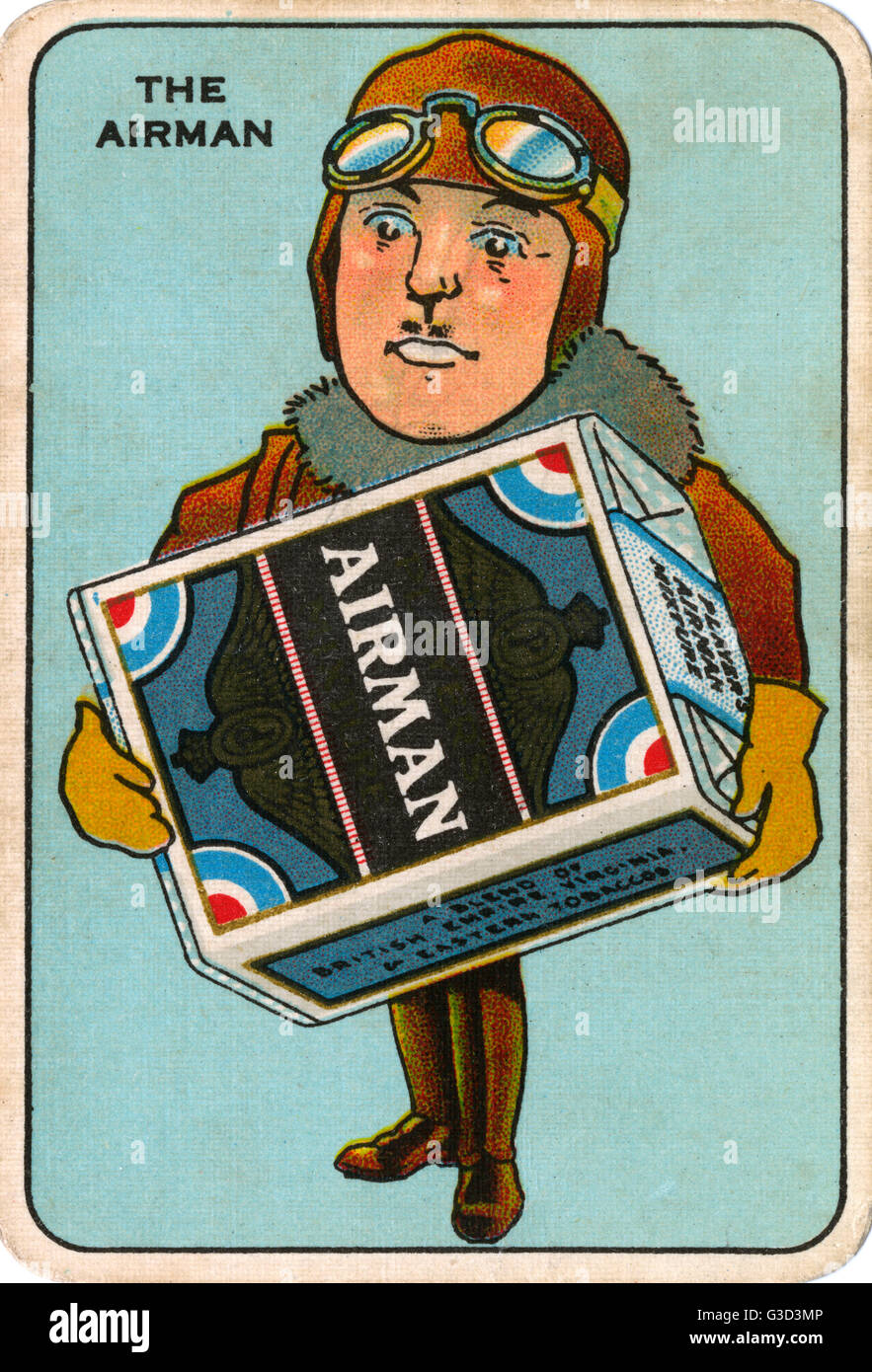 """Player's Navy Cut Snap Game - The Airman - holding a large pack of """"Airman"""" cigarettes    - Stock Image"""