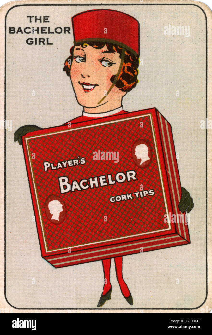 Player's Navy Cut Snap Game - The Bachelor Girl - holding a large pack of Bachelor Cork Tips.     Date: 1930 - Stock Image
