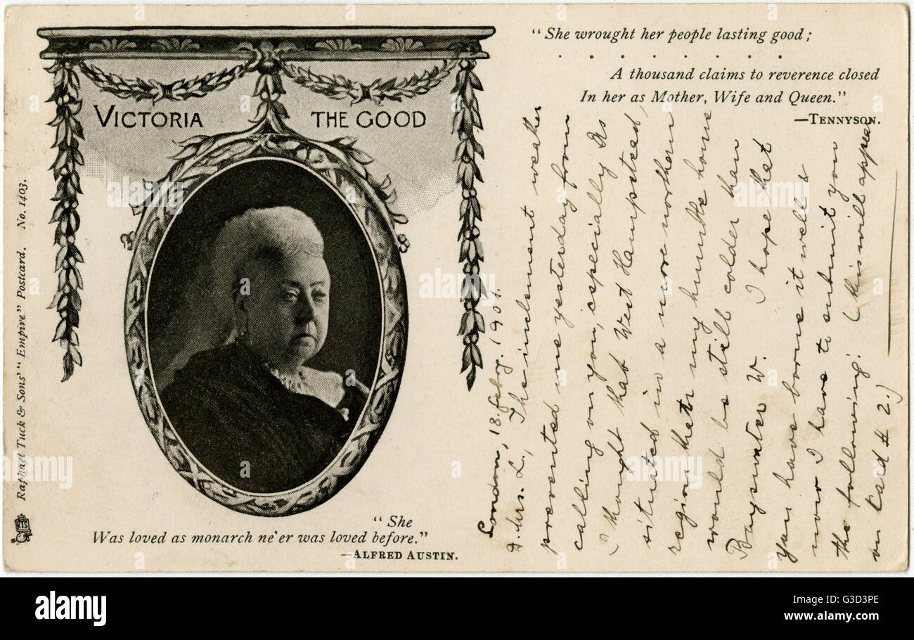 A Sombre Postcard Published On The Death Of Queen Victoria