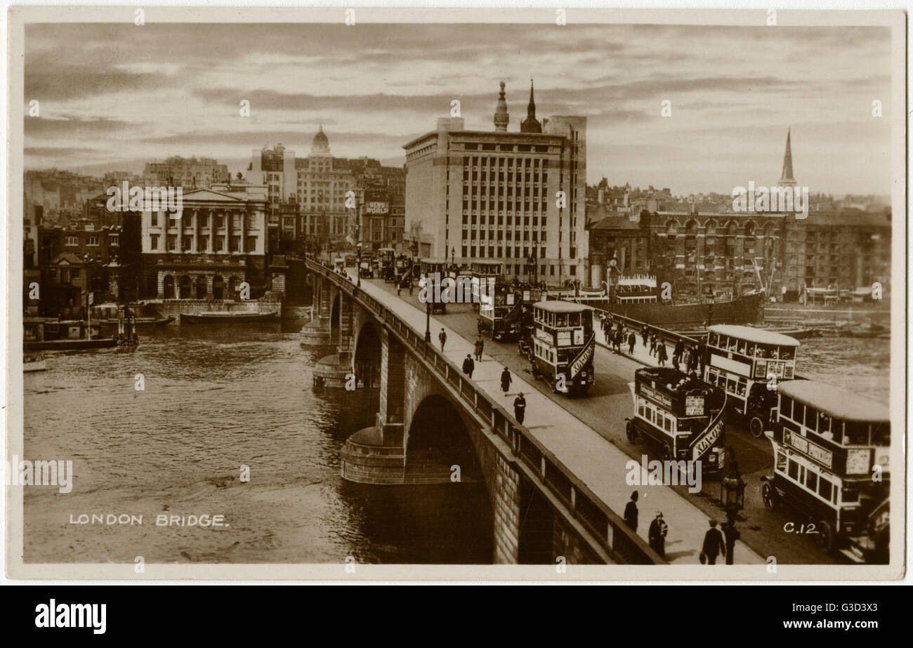 London Bridge, London, England - built in 1831 and widened in 1904.     Date: 1930s Stock Photo