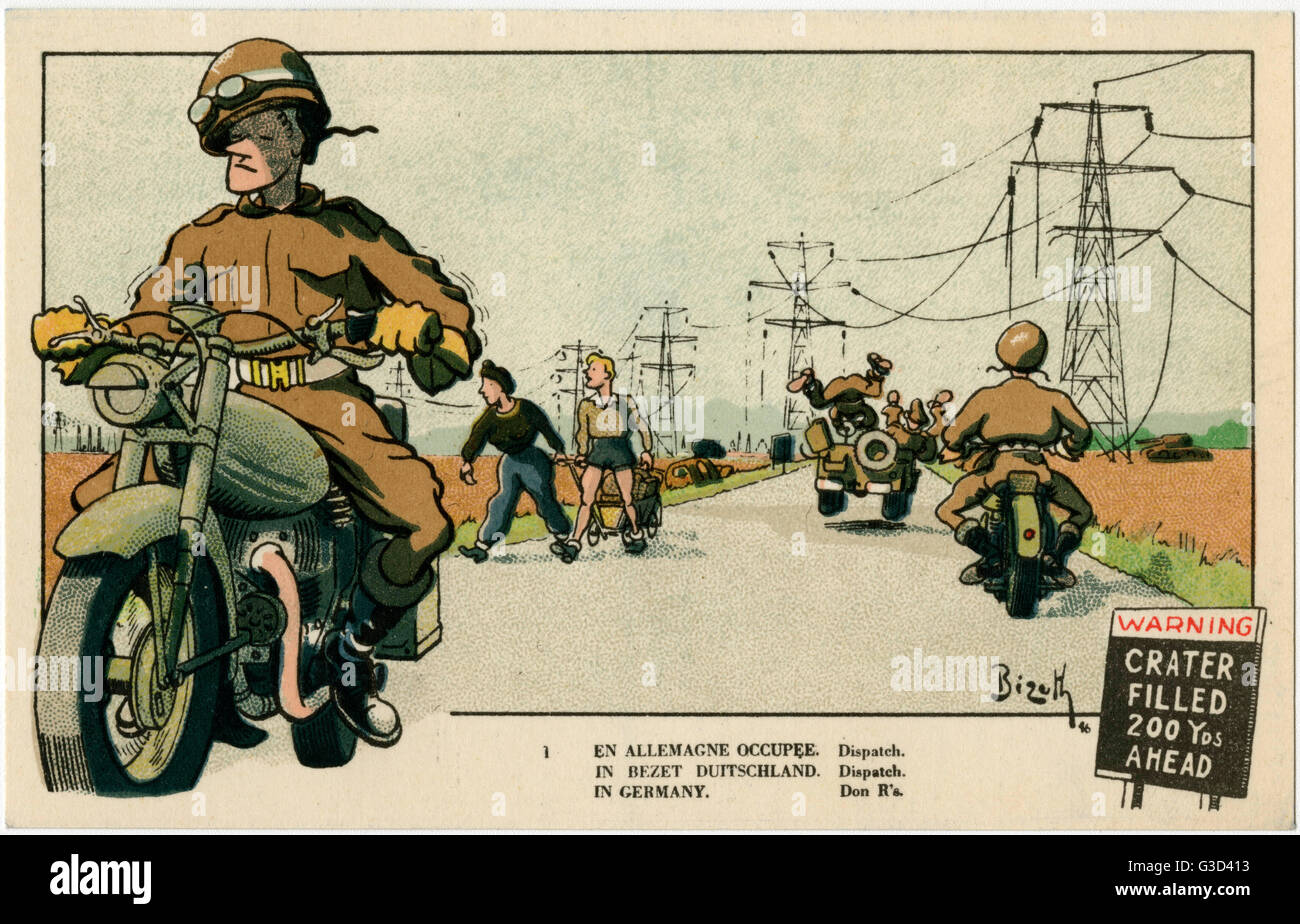 Occupied Germany - American Dispatch Riders.     Date: 1946 - Stock Image
