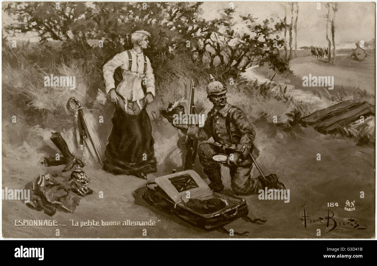 WW1 - 'The Little German Maid' - German Espionage - a German soldier prepares to get into disguise as a - Stock Image