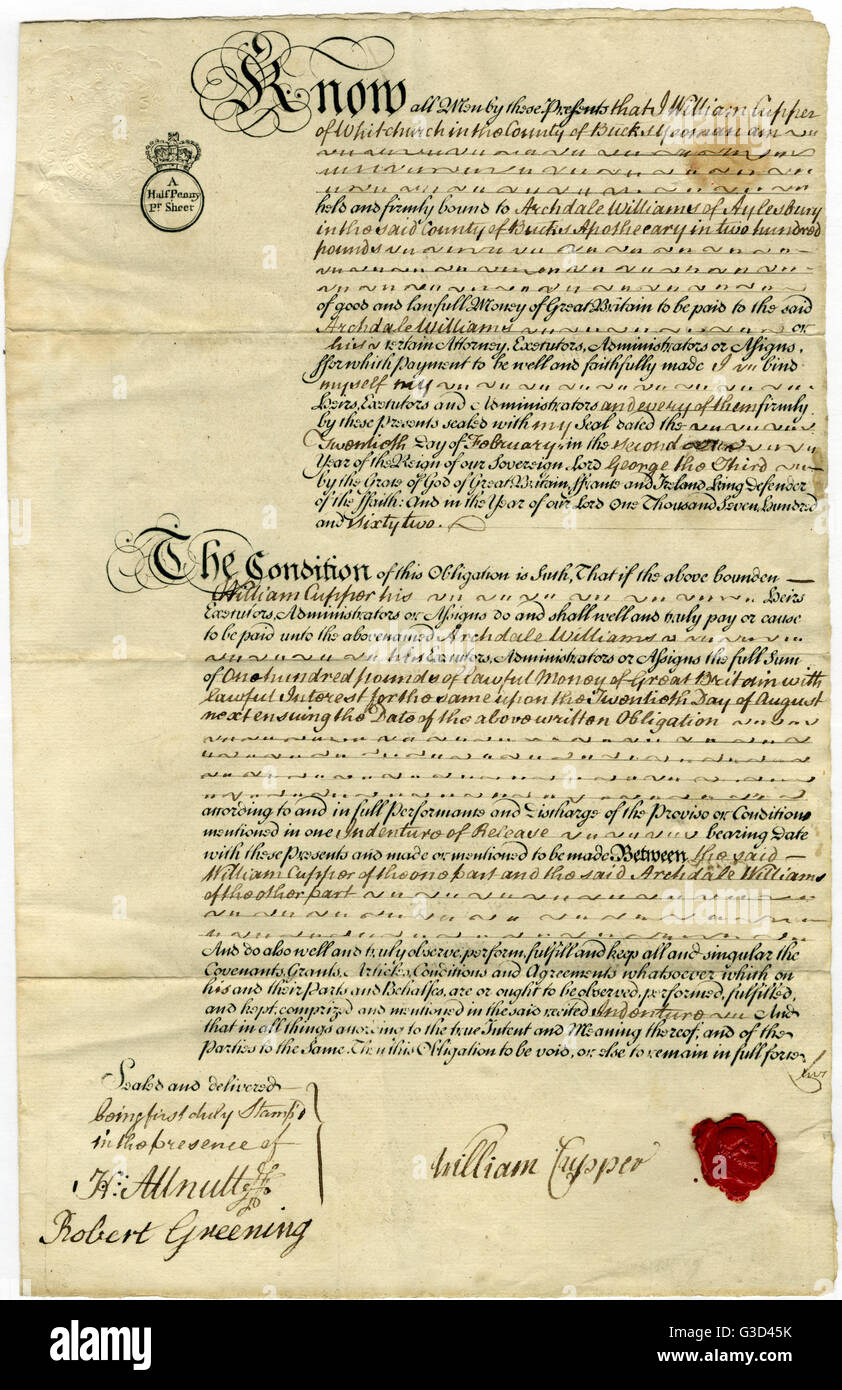 An 18th century Mortgage Bond from Mr William Cupper to Archdale Williams.     Date: 1762 - Stock Image