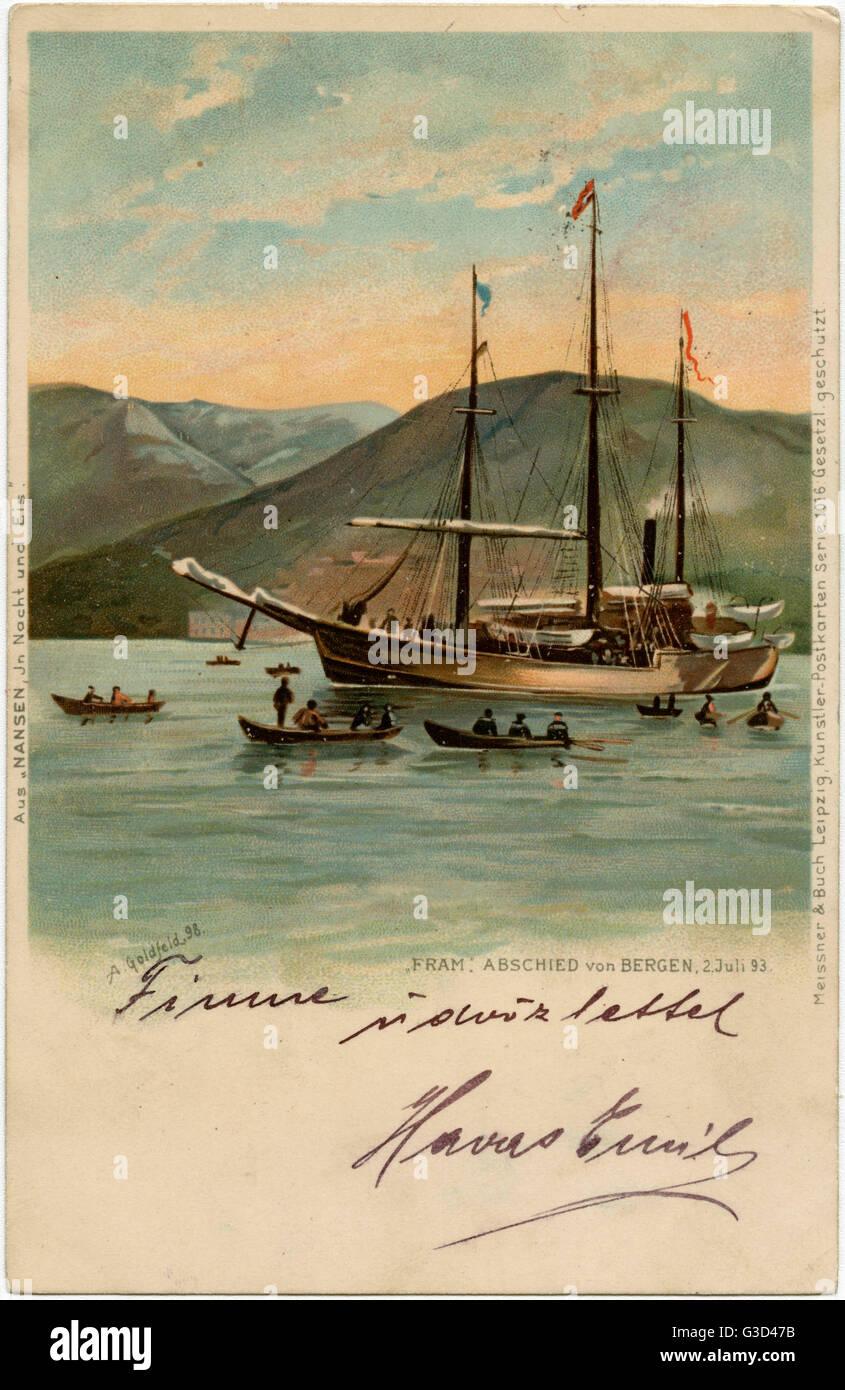 The 'Fram' - the Steam Schooner of explorer Fridtjof Nansen (1861-1930) leaving Bergen on 2nd July 1893, - Stock Image