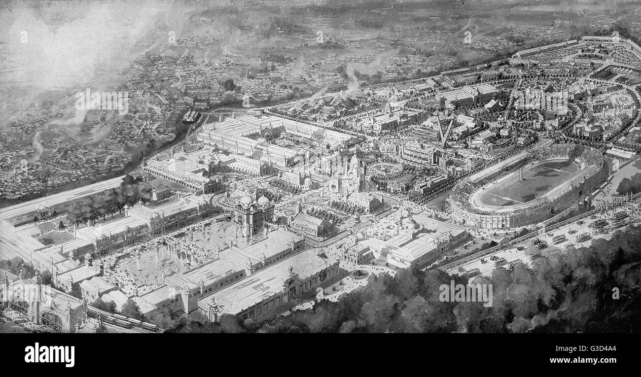 Aerial illustration of the entire site in a souvenir booklet for the Franco-British Exhibition, held at White City, - Stock Image