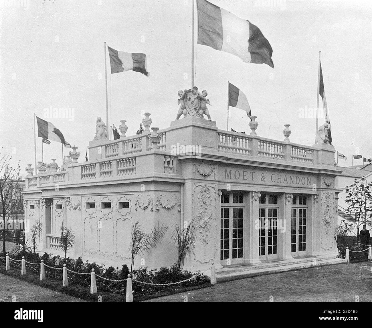 Photograph of the Moet & Chandon Pavilion in a souvenir booklet for the Franco-British Exhibition, held - Stock Image
