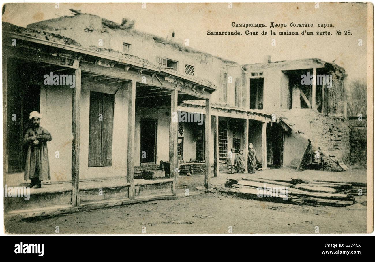 Samarkand, Uzbekistan - Courtyard of a local man's house     Date: 1910 Stock Photo