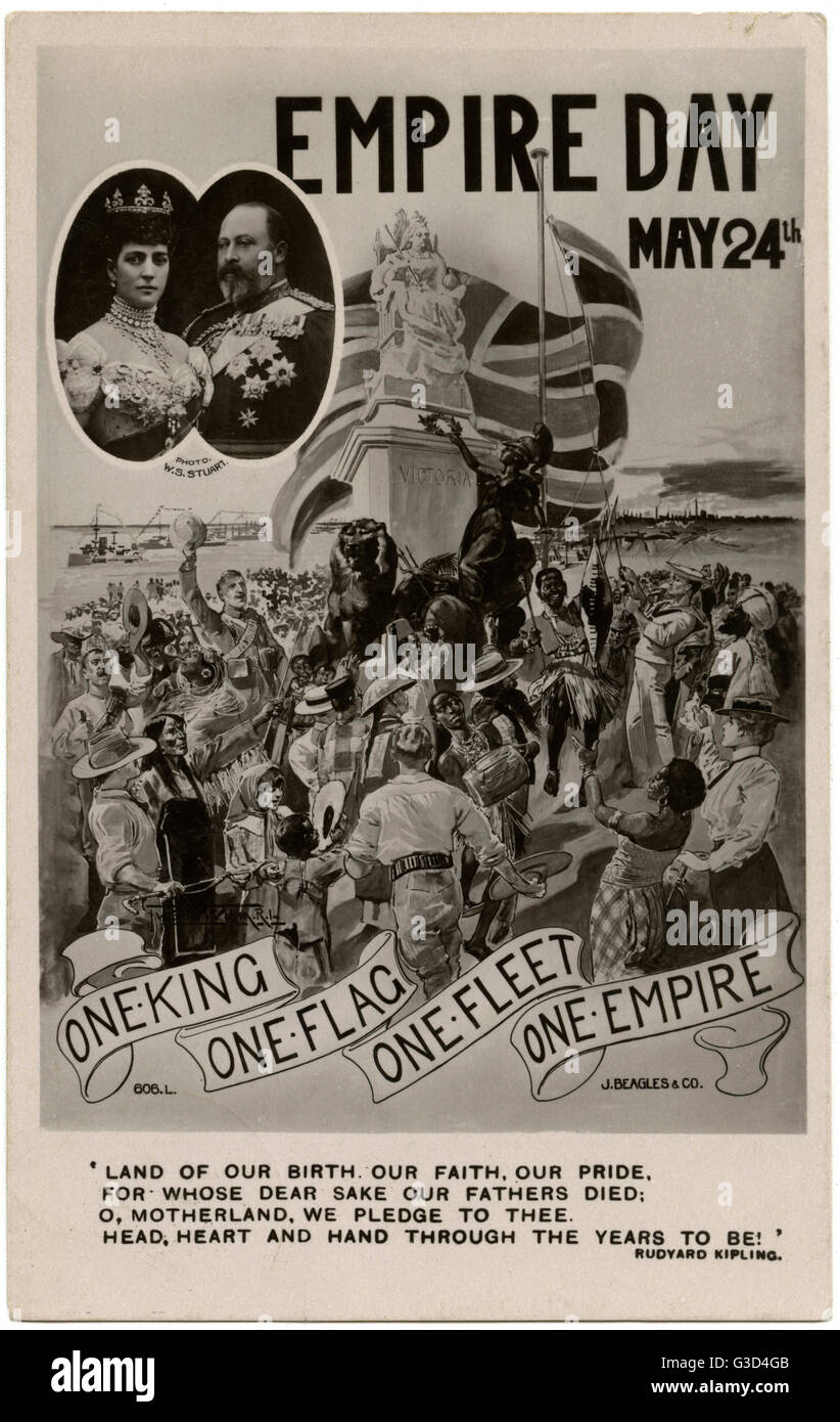 One King. One Fleet. One Flag. One Empire. Celebration postcard to commemorate Empire Day - May 24th, 1909. Members of the British Empire celebrate beneath a statue of Queen Victoria above a patriotic verse by Kipling, with an inset portrait of King Edwar Stock Photo