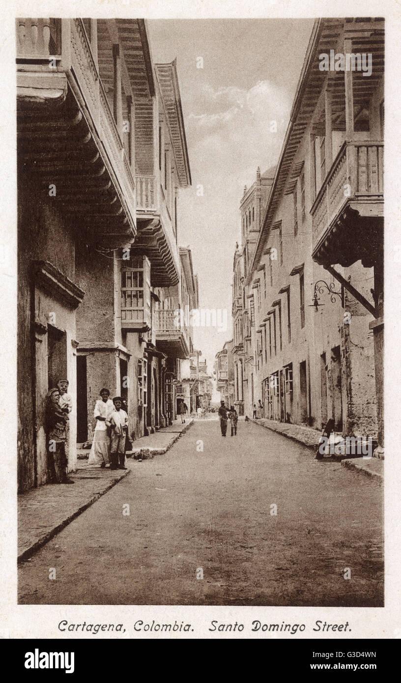 Santo Domingo Street, Cartagena, Colombia, Central America.      Date: circa 1910 - Stock Image