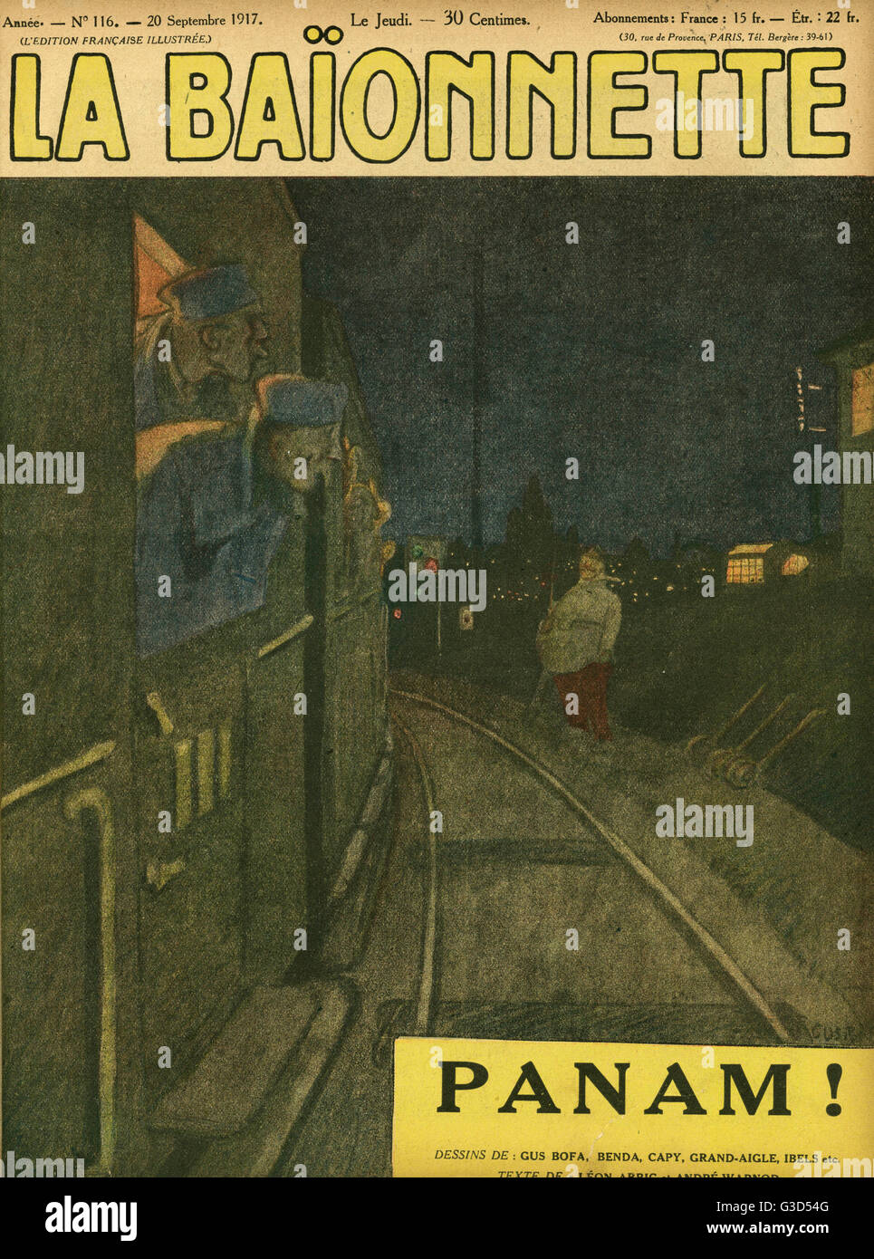 Front cover design for La Baionnette, an issue focusing on Paris (nicknamed Panam or Paname). Showing French soldiers - Stock Image