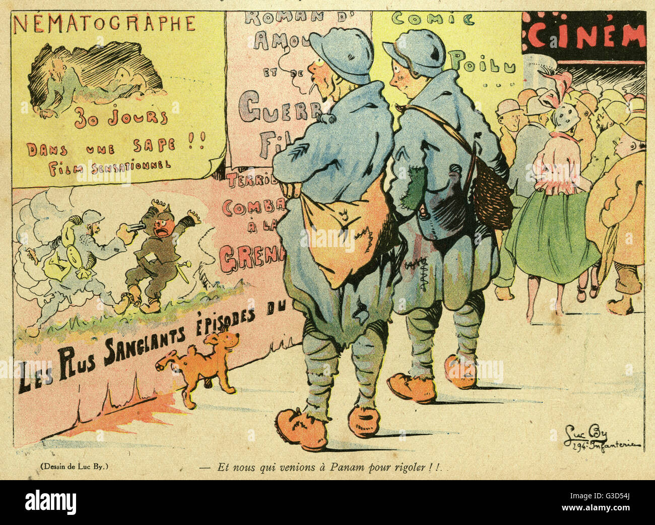 Cartoon, On leave in Paris.  Two French soldiers outside a cinema are dismayed to see that all the films are about Stock Photo