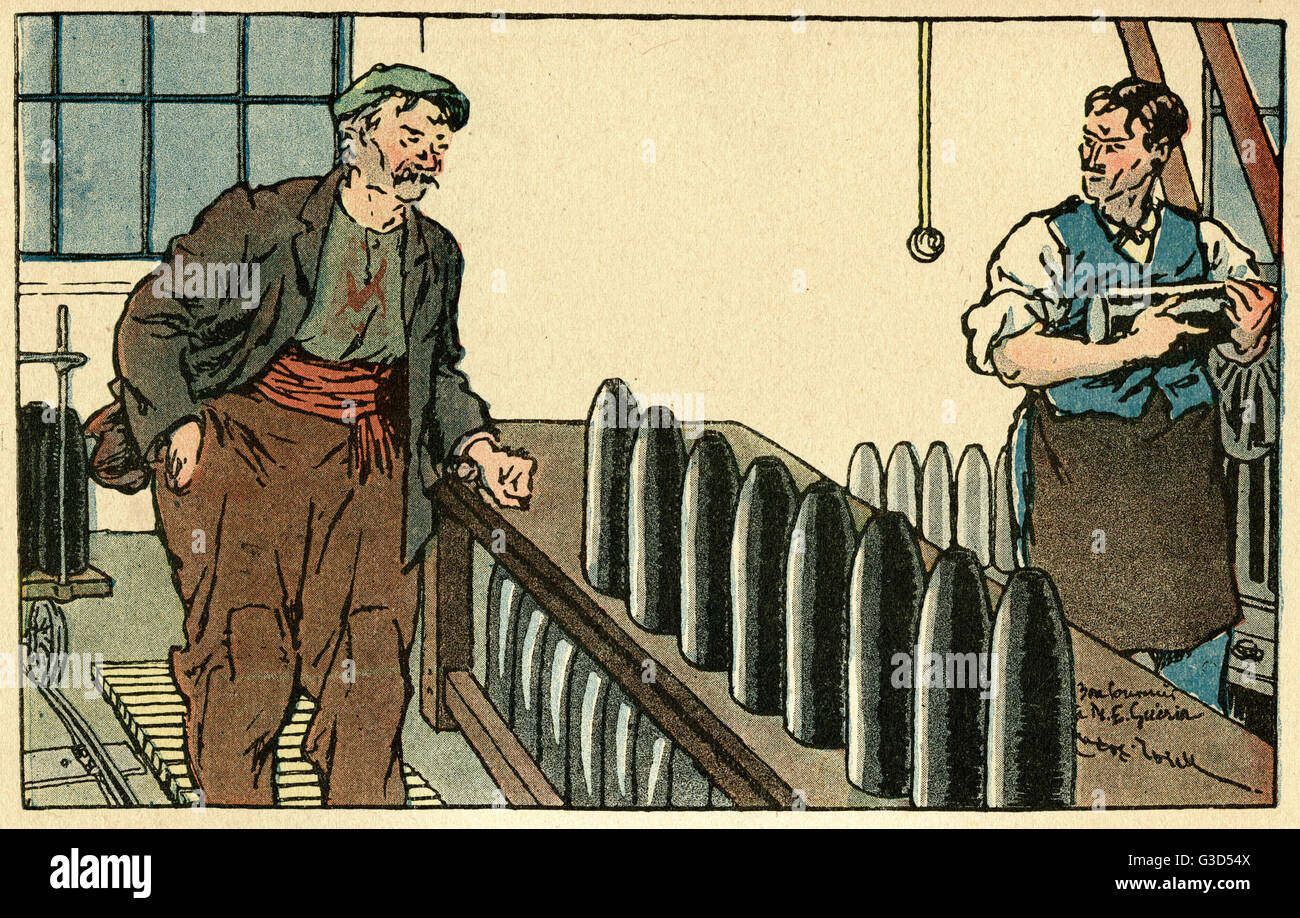 Cartoon, two men working in a French munitions factory. One man comments to his colleague: Be careful with that Stock Photo