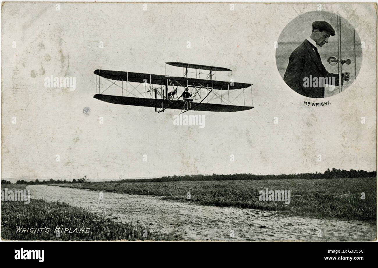 A demonstration flight of Wright's Flyer - France and an inset portrait of pioneering aviator Wilbur Wright - Stock Image