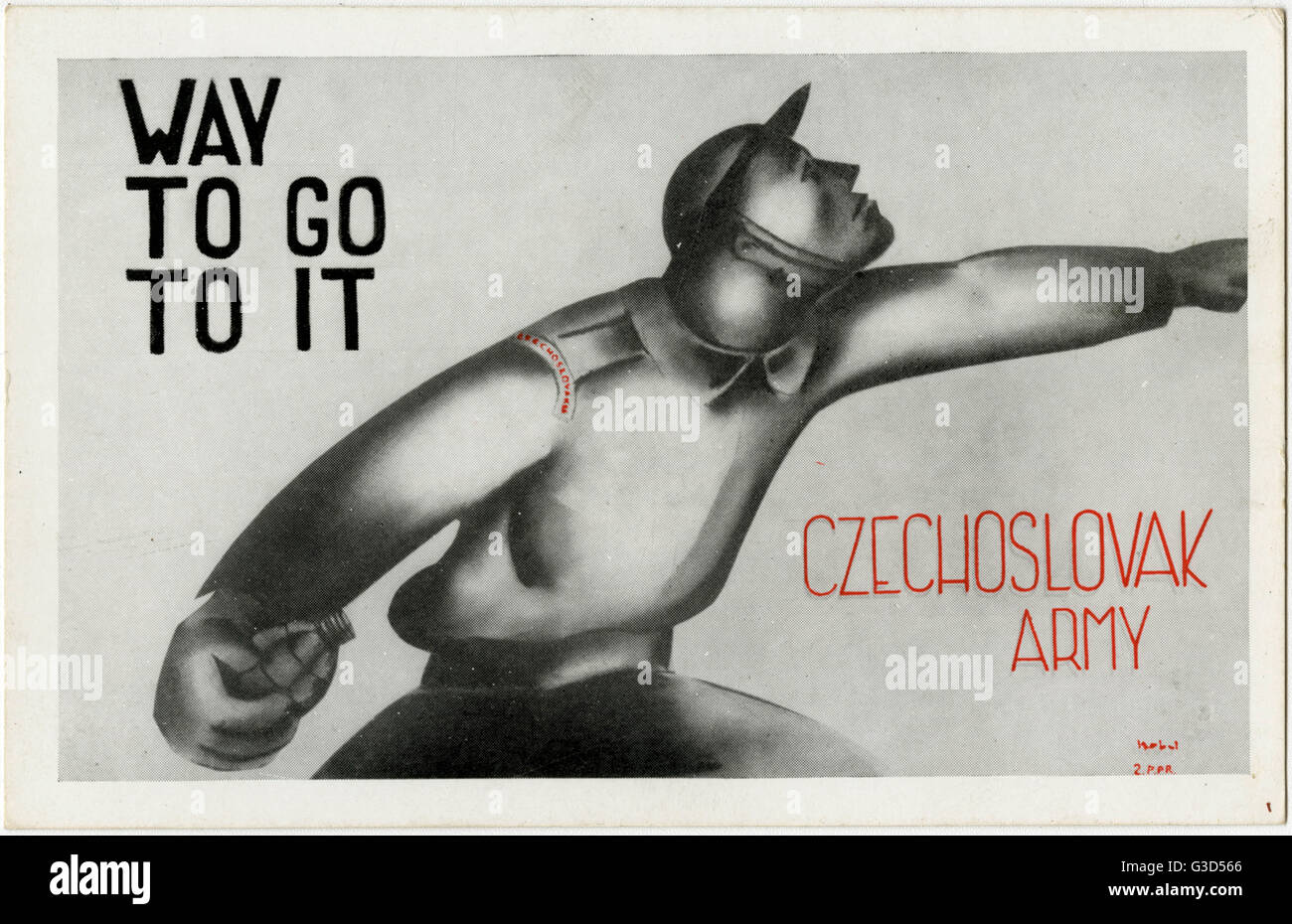 WW2 - Patriotic Czech League in London - 'Way to go to it'. Many of the Czech soldiers (and civilians) that - Stock Image