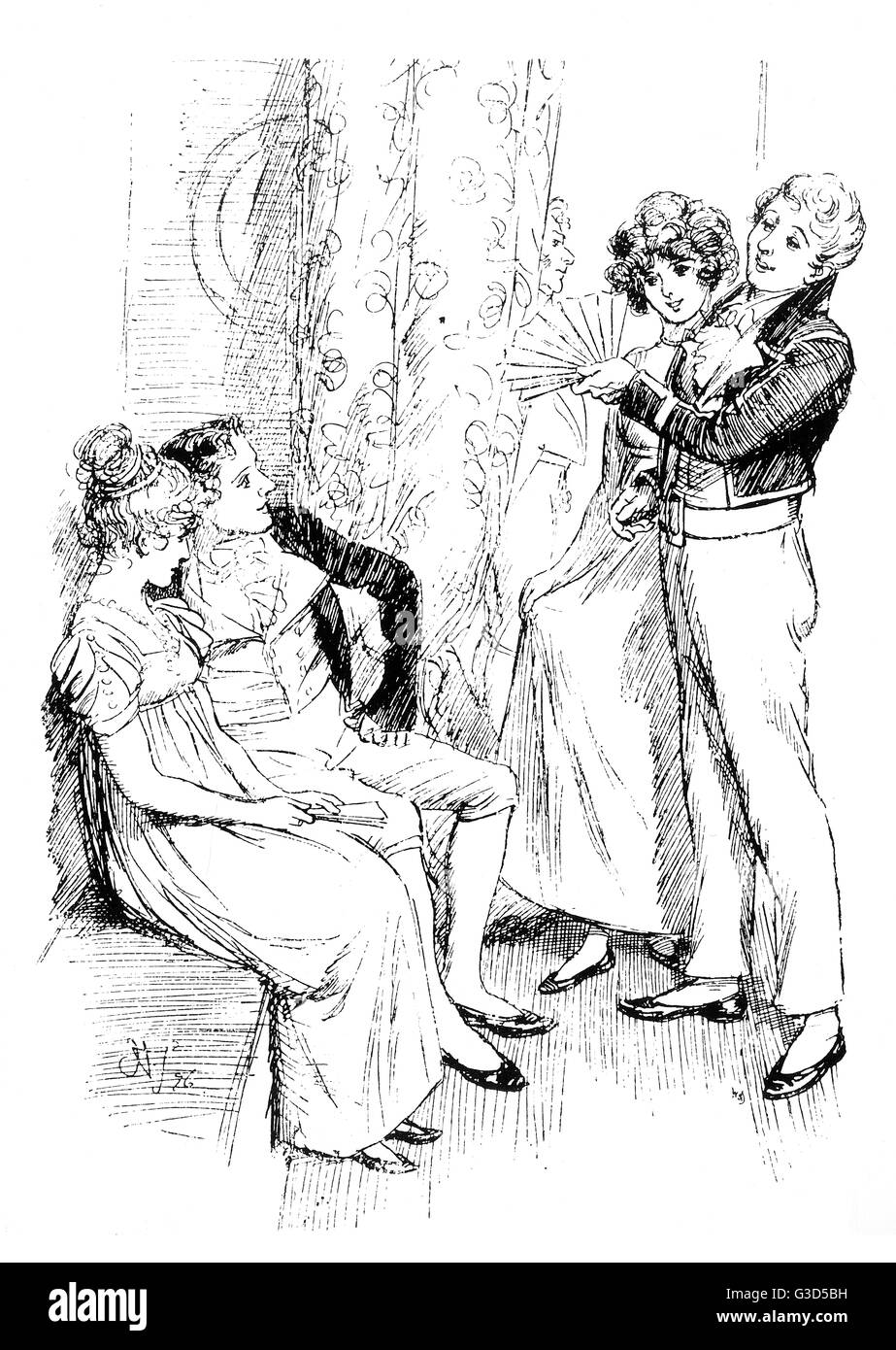Fanny Price seated with Mr. Henry Crawford     Date: First published: 1814 - Stock Image