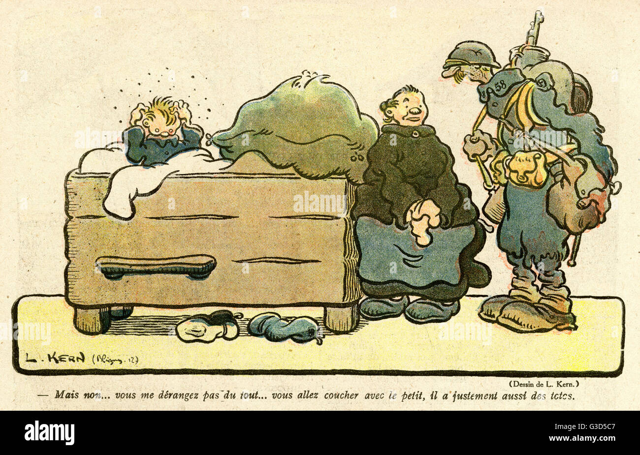 Cartoon, A soldier's billet. He is staying in a woman's house and will be sleeping with her little boy, - Stock Image