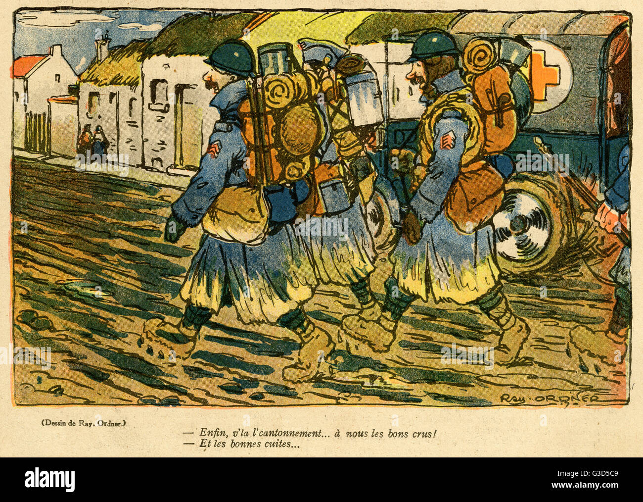 Cartoon, Soldiers approach their new billet, hoping for good cooking and good wine.      Date: 1918 - Stock Image