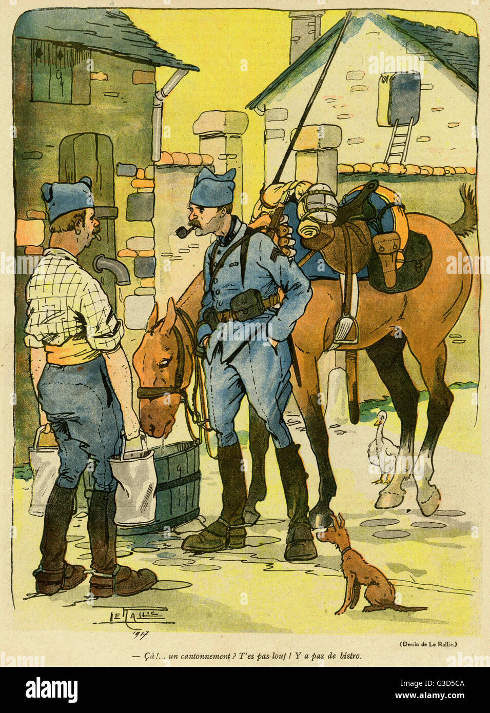 Cartoon, Soldiers discuss their billet. One of them says you can hardly call it a billet, as there's no bistro! - Stock Image