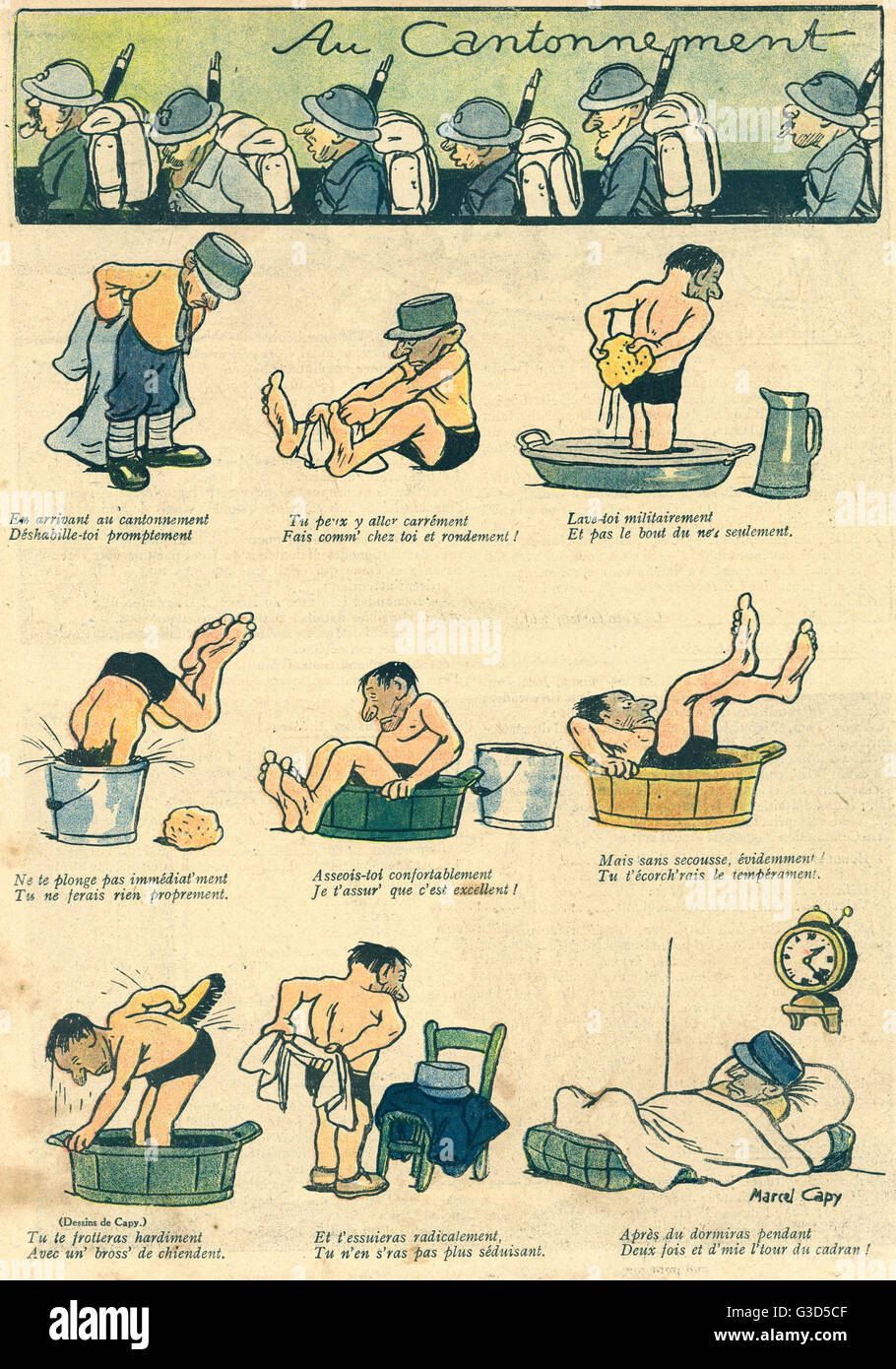 Cartoon, A soldier in his billet.  He undresses, washes in a series of small containers, then goes to bed for a - Stock Image