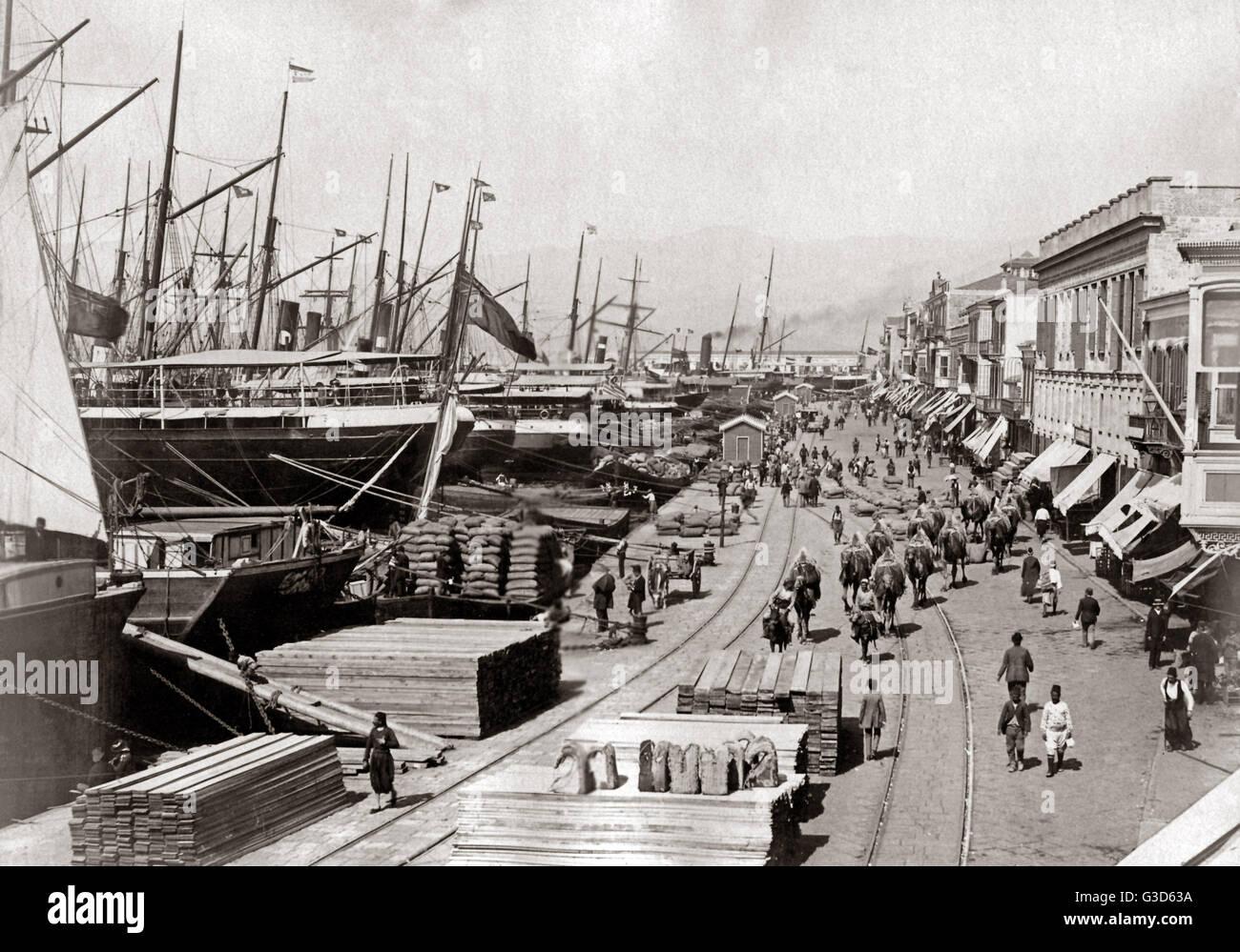 Shipping wharves, probably Port Said, Egypt, circa 1890.     Date: circa 1890 Stock Photo