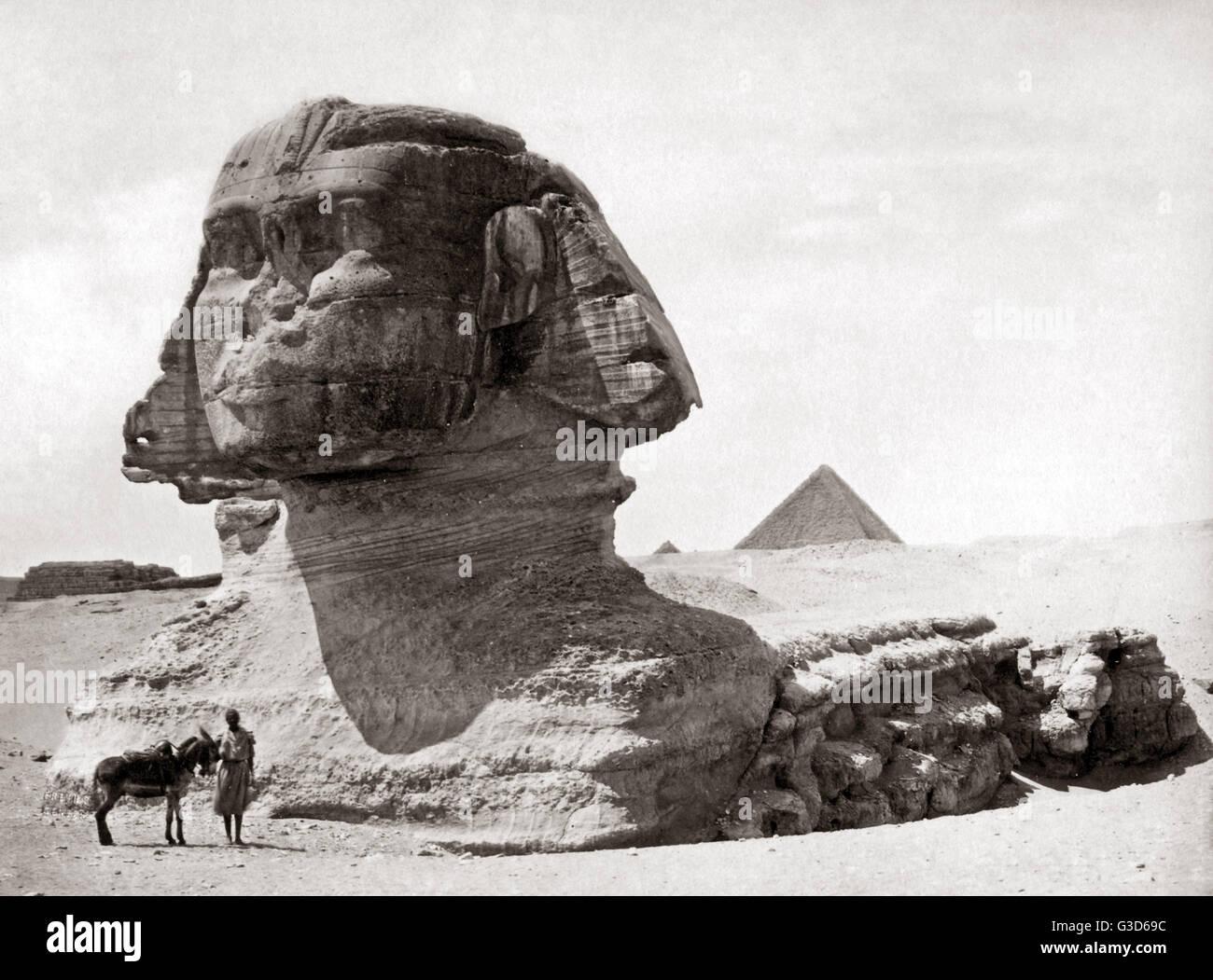 Sphinx Egypt, circa 1800s.     Date: circa 1800s - Stock Image