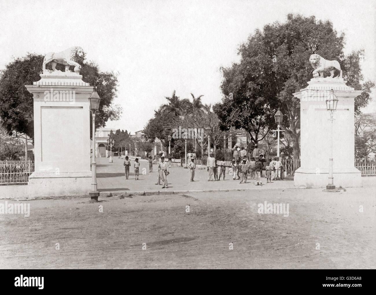 Entrance to the Plaza, probably Cienfuegos, Cuba, circa 1900.     Date: circa 1900 Stock Photo