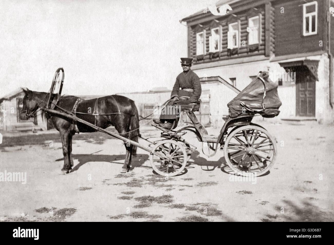 Hackney carriage or droshky, Russia, circa 1890.     Date: circa 1890 - Stock Image