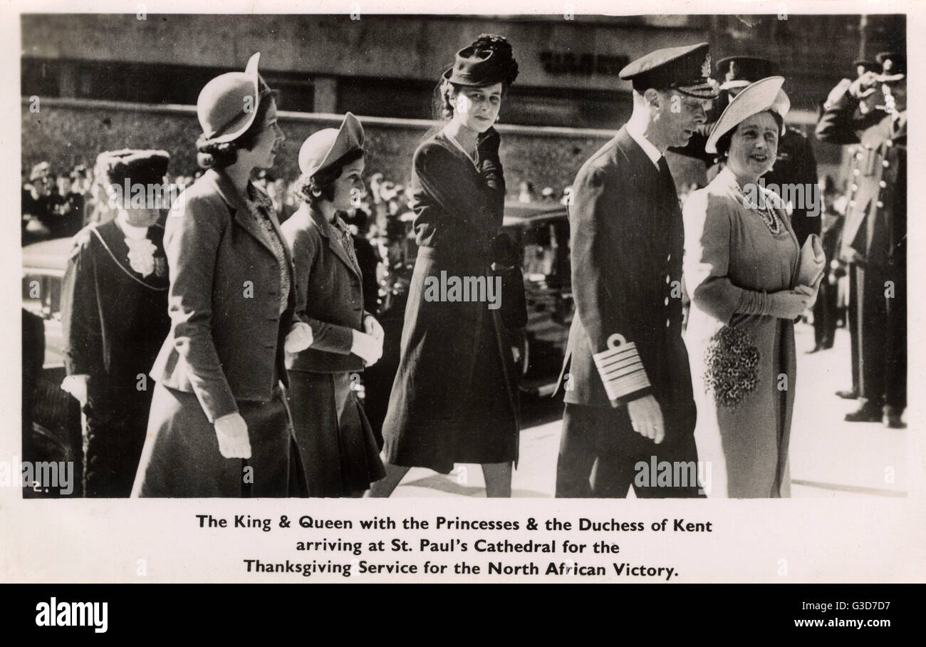 WW2 - Thanksgiving Service for Victory in North Africa - the Royal Family arrive at St. Paul's Cathedral. King - Stock Image