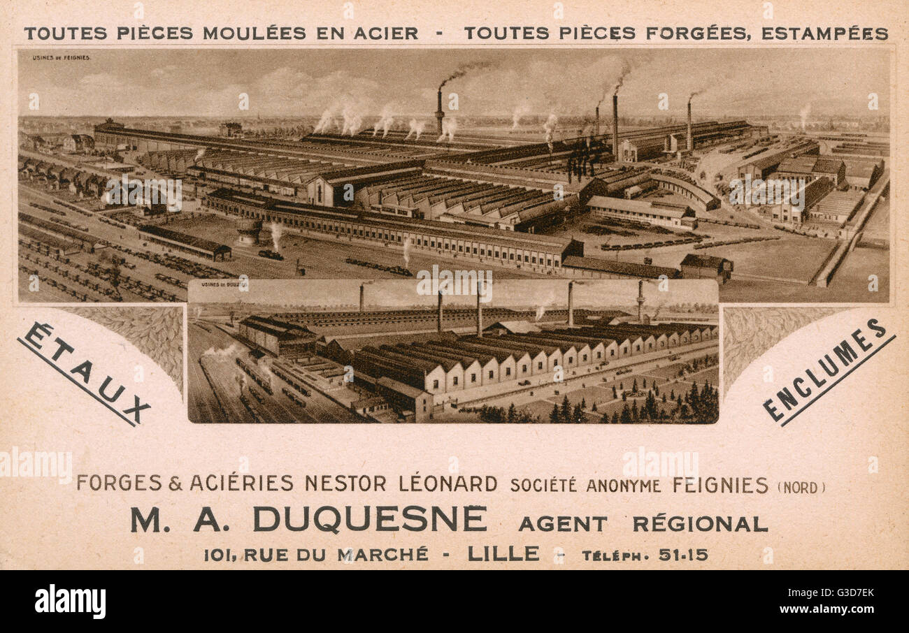 Promotional postcard for the regional agent (M. A. Duquesne) for the Nestor Leonard Ironworks and Steelworks of - Stock Image