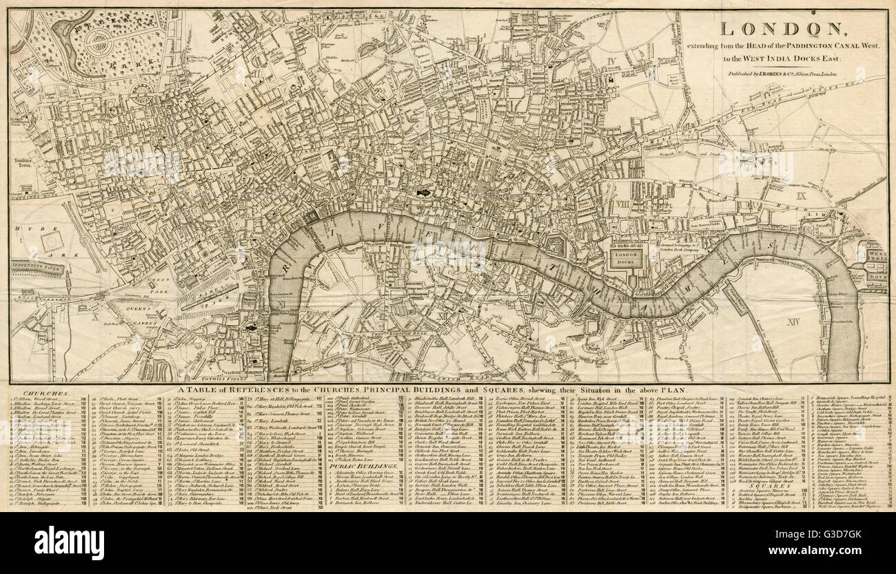 London extending from the head of the Paddington Canal West, and to the West India Docks East.     Date: 1806 Stock Photo