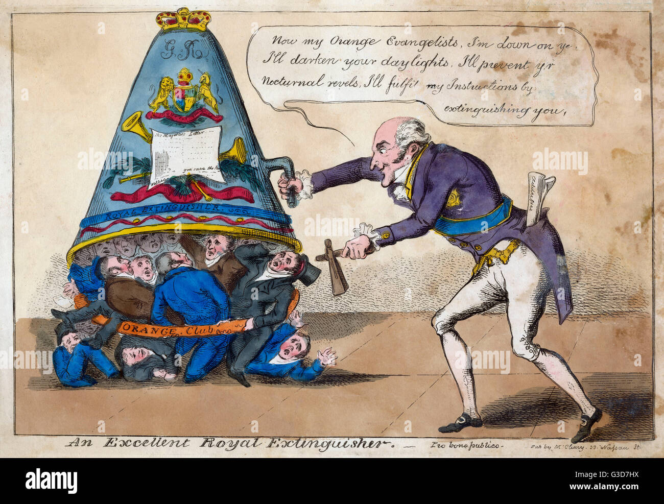 An Excellent Royal Extinguisher. Cartoon of Richard, 1st Marquess Wellesley, as Lord Lieutenant of Ireland, extinguishing - Stock Image