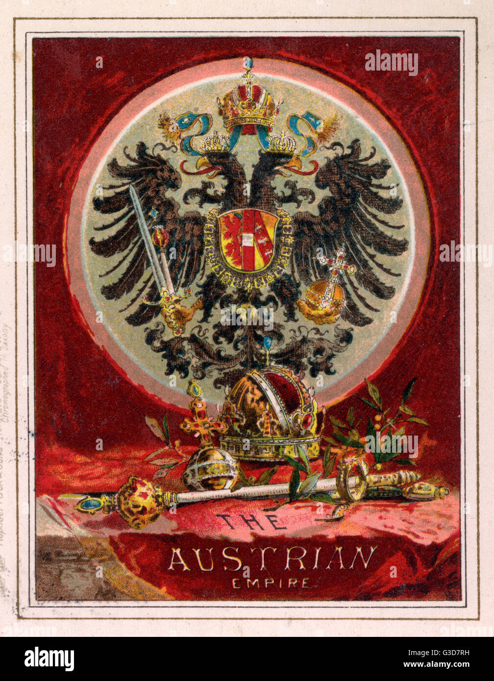 The Coat of Arms of The Austrian Empire     Date: circa 1900 - Stock Image