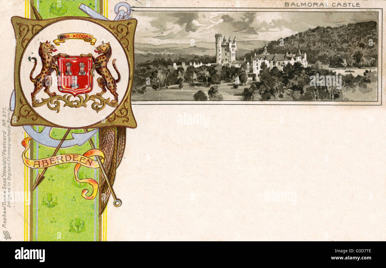The Coat of Arms of Aberdeen and view of Balmoral Castle     Date: circa 1900 Stock Photo
