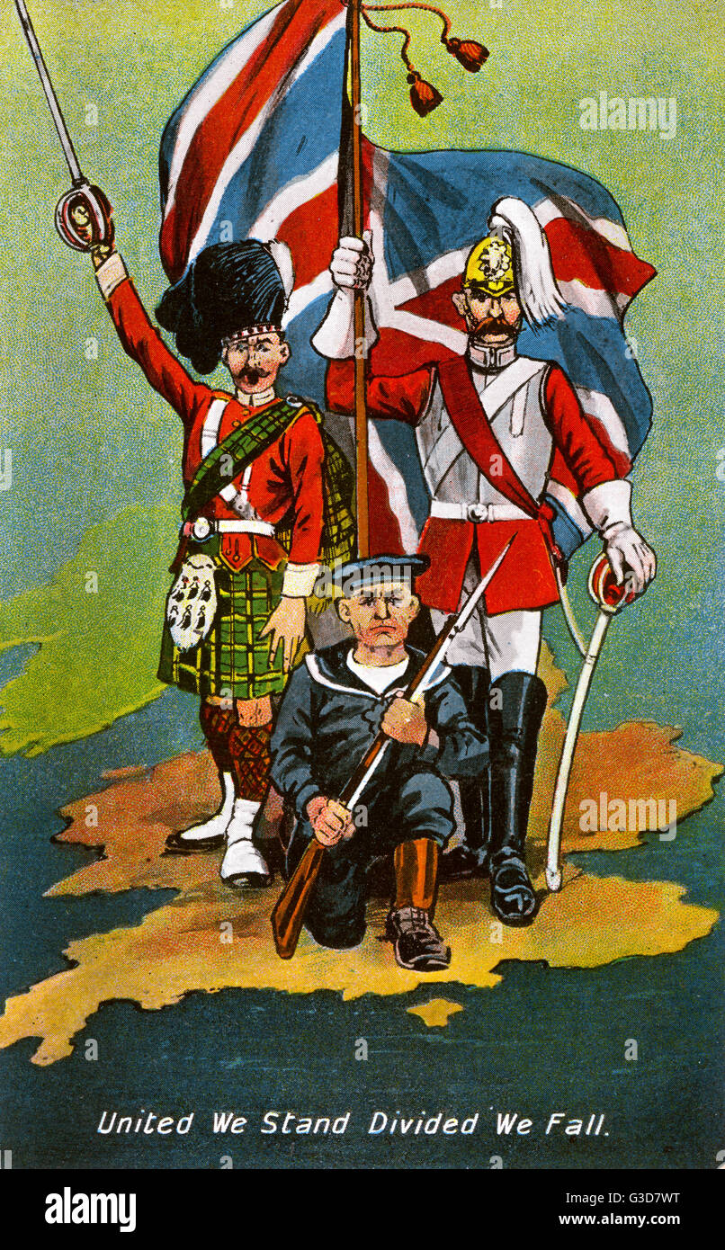 WW1 - United We Stand, Divided we fall. Patriotic postcard from the start of the First World War, showing a united - Stock Image